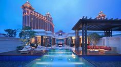 Oasis in the city ... Banyan Tree Macau's pool villa with Galaxy Casino in the background.