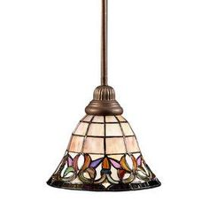 Portfolio 8-1/2-in W Flora Art Nouveau Bronze Tiffany-Style Mini Pendant Light with Tiffany-Style Shade  Lowes $55