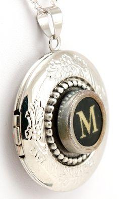 Women's Locket - Typewriter Key Locket with Necklace - Initial M - Jewelry Box . $49.99, via Etsy.