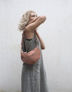 Minimal Leather Crossbody Bag with adjustable straps, Round Shoulder Purse