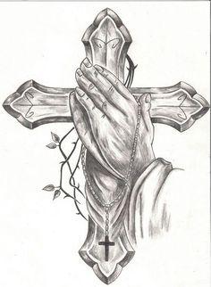 Praying Hands Tattoo - Here my tattoo Hand Tattoos, Body Art Tattoos, Sleeve Tattoos, Tattoo Sketches, Tattoo Drawings, Drawing Sketches, Cross Tattoo For Men, Cross Tattoo Designs, Cross Tattoos