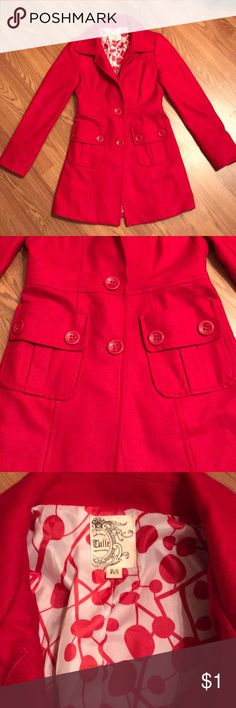 Red Peacoat! Beautiful red peacoat with a patterned lining for a fun pop! Worn a handful of times but it's just not cold enough here I live to enjoy it! There is a small hole in the back from just hanging in my closet. Extremely tiny, but can be fixed. Large buttons and pockets make for a fun style! Tulle Jackets & Coats Pea Coats