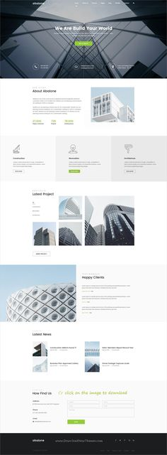 Abalone is clean and modern design multipurpose PSD template for #construction #company, creative agency, corporate business, portfolio, blogs and online shop website with 39 layered PSD pages to download click on image. #architectureportfolio