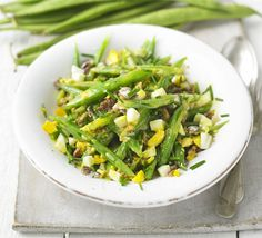 If you're not mad on anchovies, grilled bacon or lardons can add the required salty bite, from BBC Good Food. Bbc Good Food Recipes, Veg Recipes, Vegetarian Recipes, Cooking Recipes, Veggie Plate, Veggie Dishes, Side Dishes, Recipes With Runner Beans, Blue Cheese Salad