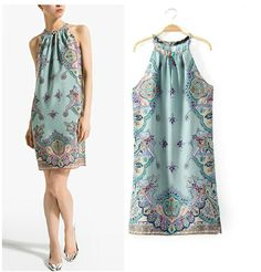 Find More Dresses Information about Free shipping European and American Style 2014 summer new women round neck sleeveless cashew pattern printing halter dress,High Quality dress for less prom dresses,China dress horses Suppliers, Cheap dresses dress up from Sunny799 on Aliexpress.com