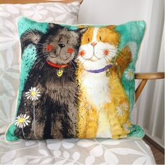 Toffee And Teacle Cushion By Alex Clark - A Bentley Cushions Traditional Cushions, Cat Key, Cat Coasters, Cat Basket, Clark Art, Cat Cushion, Tapestry Design, Cat Collars, Cat Design