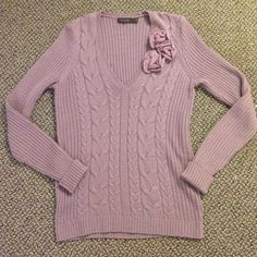The Limited purple cable knit sweater Beautiful cable knit sweater with flower detail The Limited Sweaters V-Necks