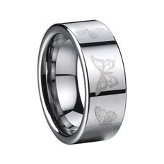 COI Tungsten Carbide Ring - I love this ring! I have one similar in black, but this has different butterflies on it where as mine has a one butterfly design. Butterfly Ring, Butterfly Design, Tungsten Carbide Rings, Celtic, Plugs, Wedding Bands, Rings For Men, Fine Jewelry, Bling