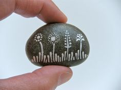 flowers - painted stone - small size