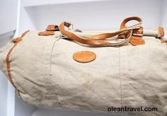 vintage linen weekend travel luggage tote duffle bag 1930s - http://oleantravel.com/vintage-linen-weekend-travel-luggage-tote-duffle-bag-1930s