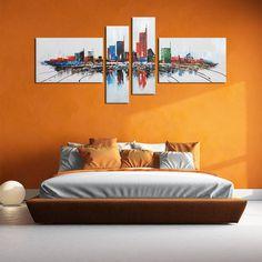 Modern 'Cityscape' Abstract 4 Piece Canvas Art