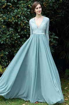 eDressit Light Green Plunging V Neck Lace Evening Dress (00170904)