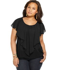 Soprano Plus Size Top, Short Sleeve Ruffled Front