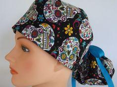 Sugar Skulls Black Ponytail  Womens surgical scrub cap by Headlids