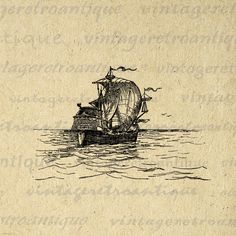 Digital Graphic Vintage Ship Sailing the Ocean Printable Boat Image Sea Download Antique Clip Art for Transfers HQ 300dpi No.3851