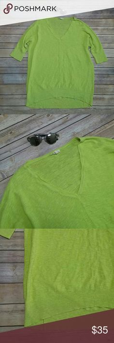 Eileen Fisher long knit v neck sweater Super cute long sleeve its on the longer side can be worn with leggings and cute sandals to the beach very light breathable sweater color is yellow green. In very good condition. Eileen Fisher Tops