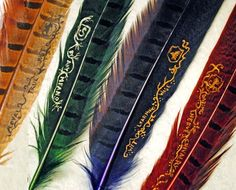 Hogwarts House Quills--these are rad! ...and for sale on Etsy, should anyone feel like buying me one ;)