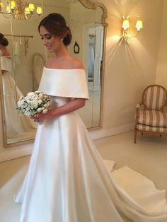 A-line Off the Shoulder Satin Cheap Simple Bridal Wedding Dresses SWD0058