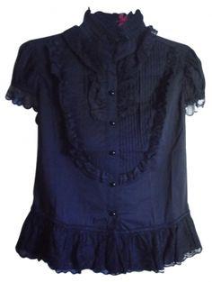 f37cfdebd81 Pyon Pyon Black Victorian Gothic Steampunk Blouse Size 16 (XL