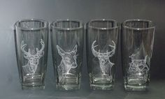 These were part of a commission for two sets of deer themed glasses.