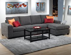 Danielle upholstery 3 pc sectional leon 39 s 1 499 new for Sectionnel lit leon