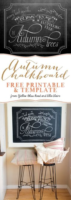 Gorgeous Fall Chalkboard! Free template and printable!