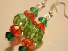 Red and Green dangle earring by gr8byz on Etsy, $9.00