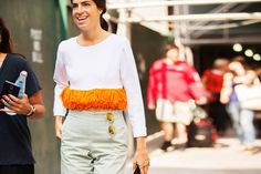 The NYFW Street-Style Looks That Truly Stunned #refinery29  http://www.refinery29.com/2014/09/73987/new-york-fashion-week-2014-street-style-photos#slide112  Leandra Medine keeps to the fringes. Rachel Comey pants; RK by Reem Alkanhal fringe top.