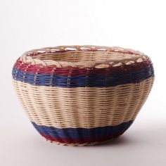 Burgundy & Blue Basket by Mary Stone