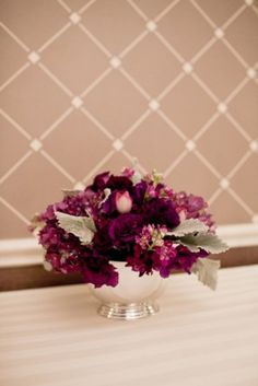 purple wedding flower ideas 275x412 Alexandria Wedding: Christine + Dimitrios Purple and Gray Reception