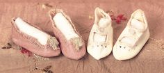 Peaches and Cream. Two Pairs of Shoes for Bebes Jumeau. Circa 1895. http://Theriaults.com