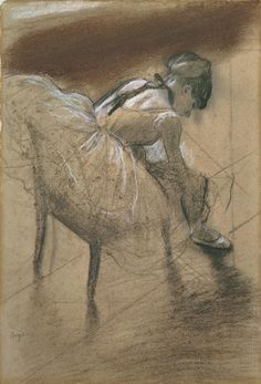 Edgar Degas (1834-1917)Seated dancer rubbing her leg, c.1878. Charcoal and pastel on paper.