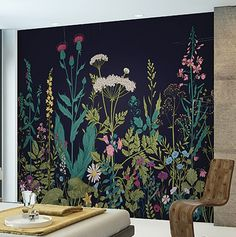 Botanical Fleur x 118 6 Piece Wall Mural Set is part of painting Walls Murals - Botanical Fleur x 118 6 Piece Wall Mural Set is a sight for sore eyes Vibrant shades of teal, pink, purple, and green come together in a vintage floral illustration Deco Cool, Bedroom Murals, Diy Bedroom, Bedroom Wall, Chalkboard Art, Chalkboard Doodles, Deco Design, Design Design, Interior Design
