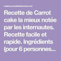 Recette de Carrot cake la mieux notée par les internautes. Recette facile et rapide. Ingrédients (pour 6 personnes) : 250 g de carottes, 175 g d'amandes en poudre, 50 g de noix de pécan hachées, 25 g de cranberries séchées, 4 oeufs, 75 g de farine
