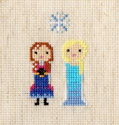 Anna Elsa (Disney's Frozen) Pixel Portrait Cross Stitch Pattern by ScarletPyjamas, £3.20