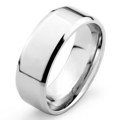 316L Mirror Polished Flat Band with Beveled Edge Ring, Men's