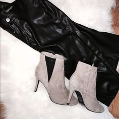 Forever 21 heeled ankle booties Beautiful taupe color goes with everything. Only worn once. Super comfortable and look way more expensive than they are. Pair with skirts or pants Forever 21 Shoes Ankle Boots & Booties
