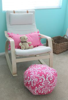 Items Similar To Ottoman Pouf Floor Pillow Candy Pink White Damask On Etsy Awesome Design