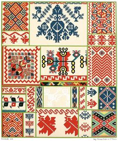 Ukrainian embroidery.  From Geschichte des Kostüms (The costume history) vol. 5, by Auguste Racinet, Berlin, 1888.