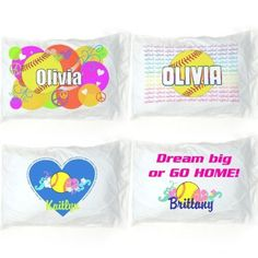Personalized Softball Pillowcase by Sports For Her. $19.99. This great personalized softball pillowcase measures 20.5 inches X 30 inches and will fit a standard size pillow. The pillowcase is made with a process that does not change the feel of the fabric so the pillowcase has the same soft feel all over, even over the printed area. Choose from:-Circles design featuring bright green, red, fushia, and orange circles with peace signs and hearts and a softball wit...