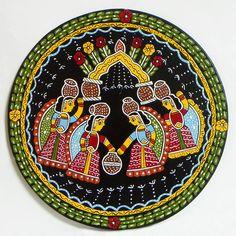 Gopinis with Milk Pots - Wall Hanging (Madhubani Folk Art on Hardboard))