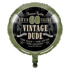 Vintage Dude 60th Birthday Mylar Balloon