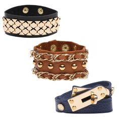 With a variety of shades, shapes, embellishments and textures, this bracelet trio offers a cuff for every occasion.    FOR WHEN YOU FEEL like you've got the right cuff, baby.     ACCESSORIZE with a fringed summer scarf and festive fedora.     DESIGN DETAIL: The chocolate-hued cuff combines chain link details with opulent accent studs.