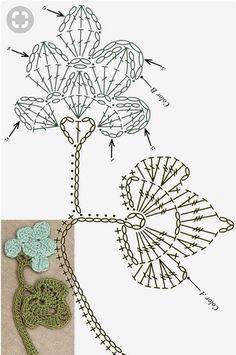 Clippedonissuu From Motif / Edging - Diy Crafts - DIY & Crafts Crochet Daisy, Crochet Leaves, Form Crochet, Crochet Diagram, Crochet Chart, Thread Crochet, Crochet Motif, Crochet Doilies, Crochet Flowers