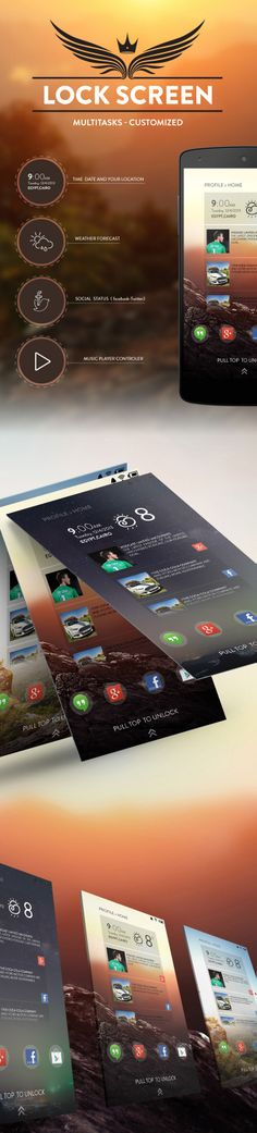 Android mobile lock-screen design - #digital #ui #ux