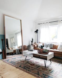 Boho Living Room DIY - This DIY mirror frame is perfect for this simpleyetstunning living room (Imag Living Room Images, Living Room Mirrors, Boho Living Room, Living Room Designs, Living Room Decor, Living Spaces, Bohemian Living, Huge Mirror, Diy Mirror