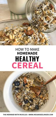 This Keto Cereal recipe is easy, make ahead breakfast recipes. The gluten free cereal ingredients are a variety of nuts, chia seeds and coconut, which also make it a vegan and low carb breakfast cereal. Plus, it's jam-packed with antioxidants and Cereal Keto, Cereal Sin Gluten, Low Carb Cereal, Healthy Cereal, Low Carb Breakfast, Easy Healthy Breakfast, Breakfast Cereal, Breakfast Recipes, Breakfast Toast