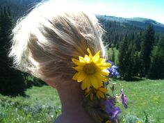 My favorite picture of the Summer: Carolyn horseback riding in the wildflowers of Yellowstone  (Carolyn Kammeyer)
