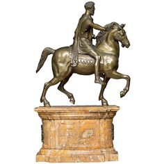 """'Grand Tour Souvenier', Equestrian statue depicting """"Emperor Hadrian""""   From a unique collection of antique and modern sculptures at https://www.1stdibs.com/furniture/decorative-objects/sculptures/"""
