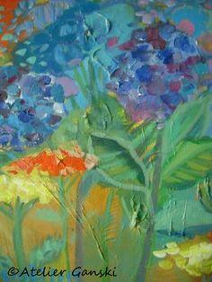 Hortensien/ Hydrangea  - Acrylgemälde Artworks, Touch, Blue, Painting, Hydrangeas, Kunst, Painting Art, Paintings, Painted Canvas
